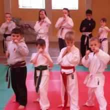 Children holding a karate move